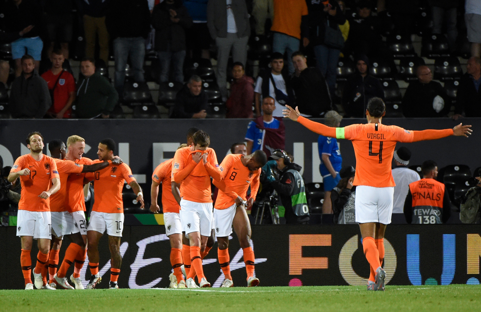 Netherlands' players celebrate their third goal in their UEFA Nations League semi-final against England at Afonso Henriques Stadium in Guimarães ©Getty Images