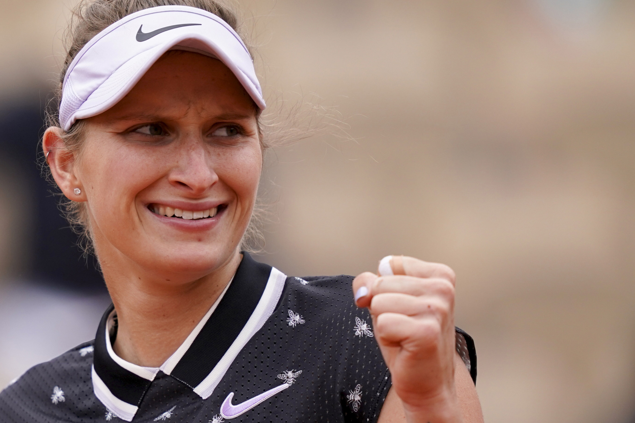 Markéta Vondroušová pumps her fist after reaching her first Grand Slam final ©Getty Images