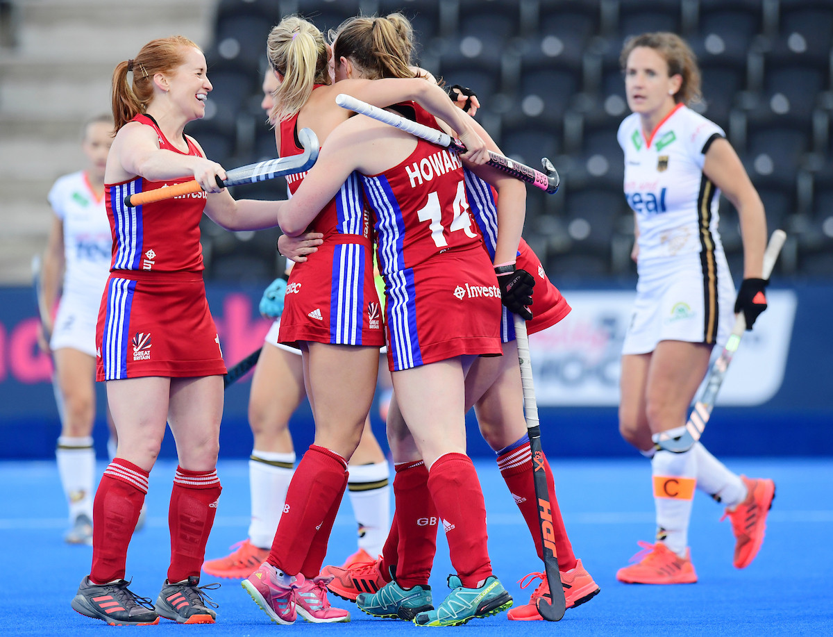 Britain's Tess Howard is mobbed by her team mates after scoring her first international goals ©World Sport Pics
