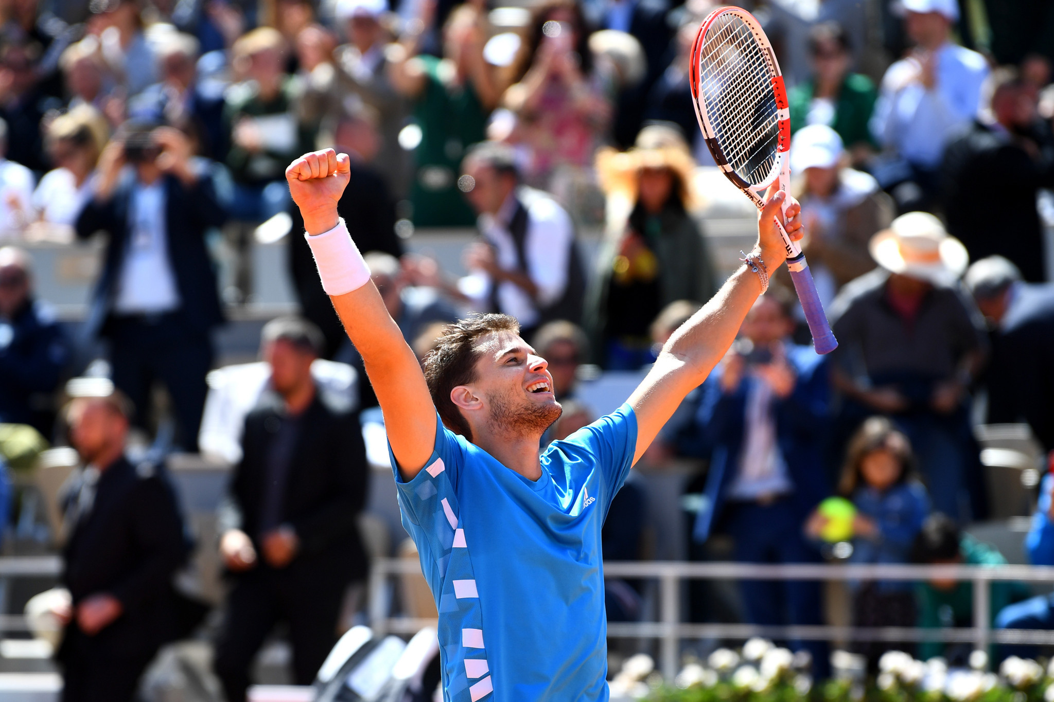 There was elation for Thiem as he sealed a place in tomorrow's French Open final against Spaniard Rafael Nadal ©Getty Images