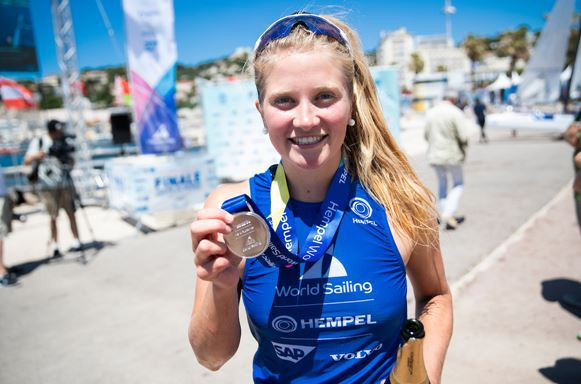 Britain's Saskia Sills took the silver medal in the women's RS:X medal race ©World Sailing