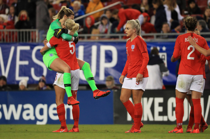 England celebrate a timely and morale-boosting annexation of the SheBelieves Cup in the United States in March ©Getty Images