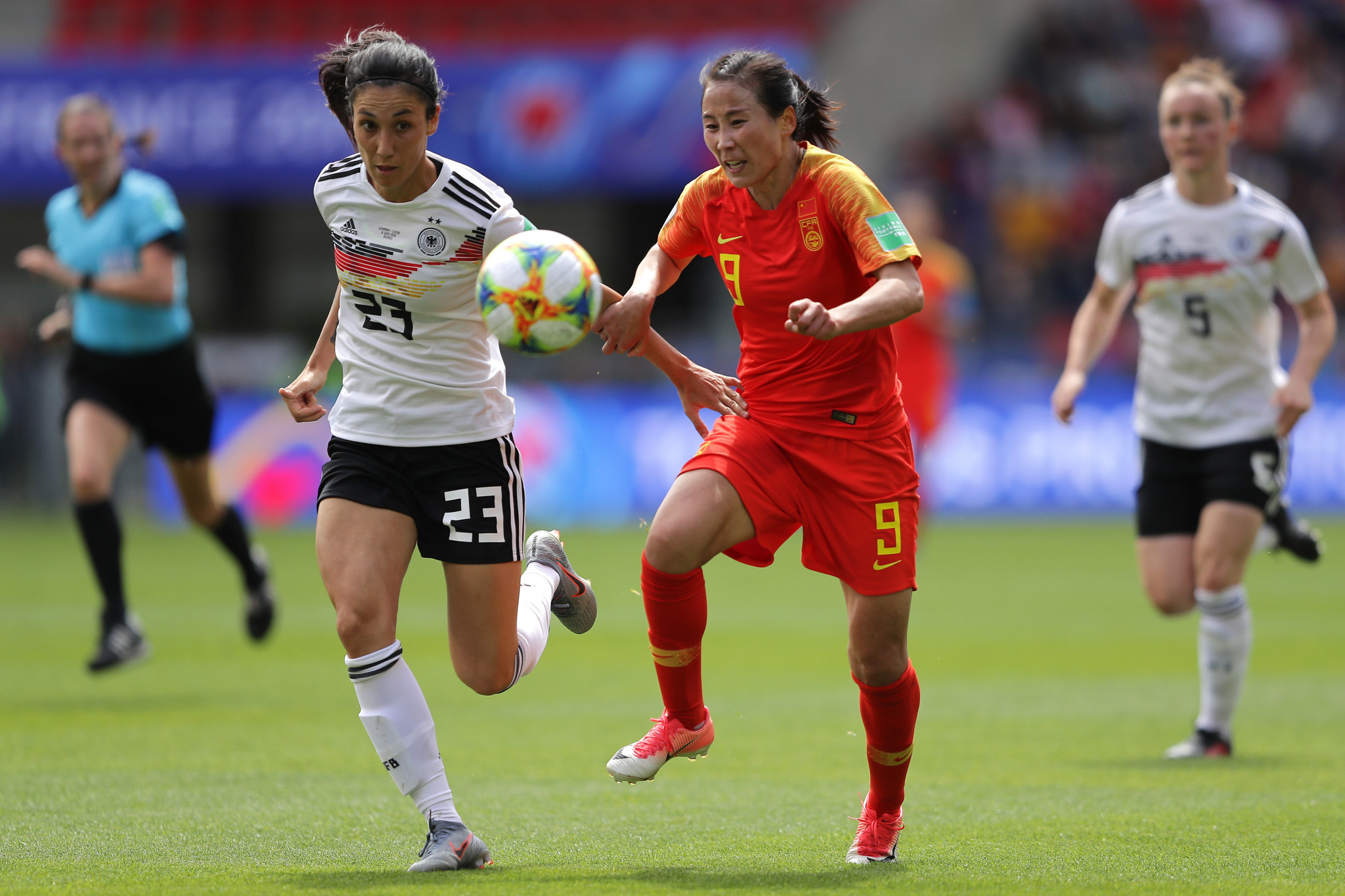 China played Germany in the other Group B fixture, with Yang Li wasting a couple of chances for her team ©Getty Images