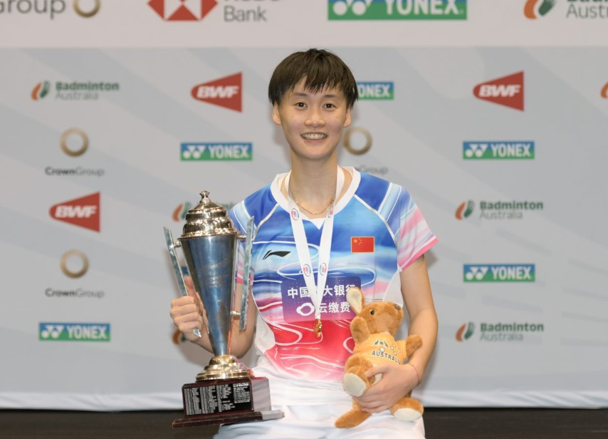 Chen Yufai took a crushing victory in the BWF Australian Open women's final ©Crown Group Australian Badminton Open/Facebook