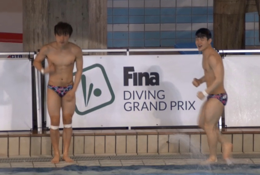 Woo Ha-ram (left) added his second gold of this meeting in the 3m springboard synchro ©FINA