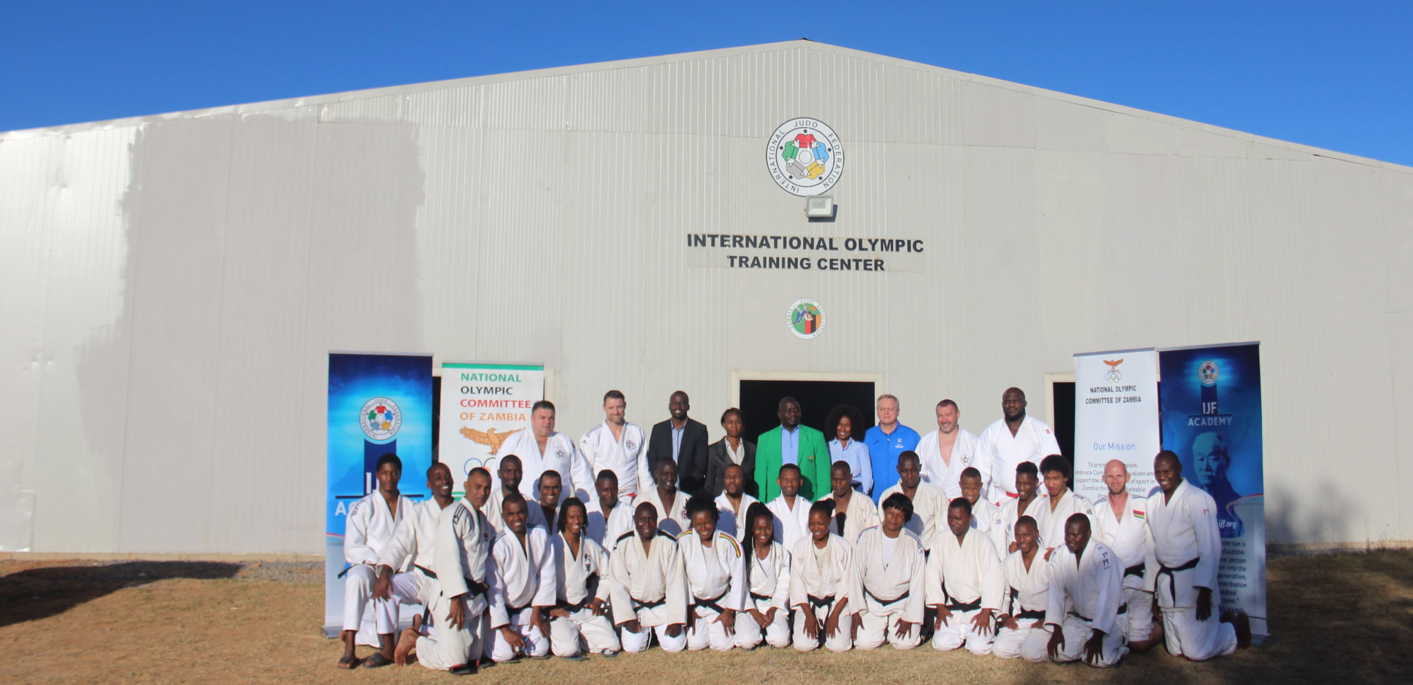 Coaches and experts line up at the Olympic Youth Development Centre in Lusaka during the IJF Academy Level 1 practical training course held in conjunction with the National Olympic Committee of Zambia ©NOCZ