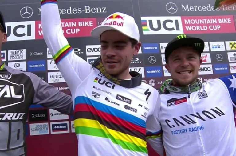 In the men's event, France's Loic Bruni (centre) emerged victorious in an incredibly tight race ©UCI