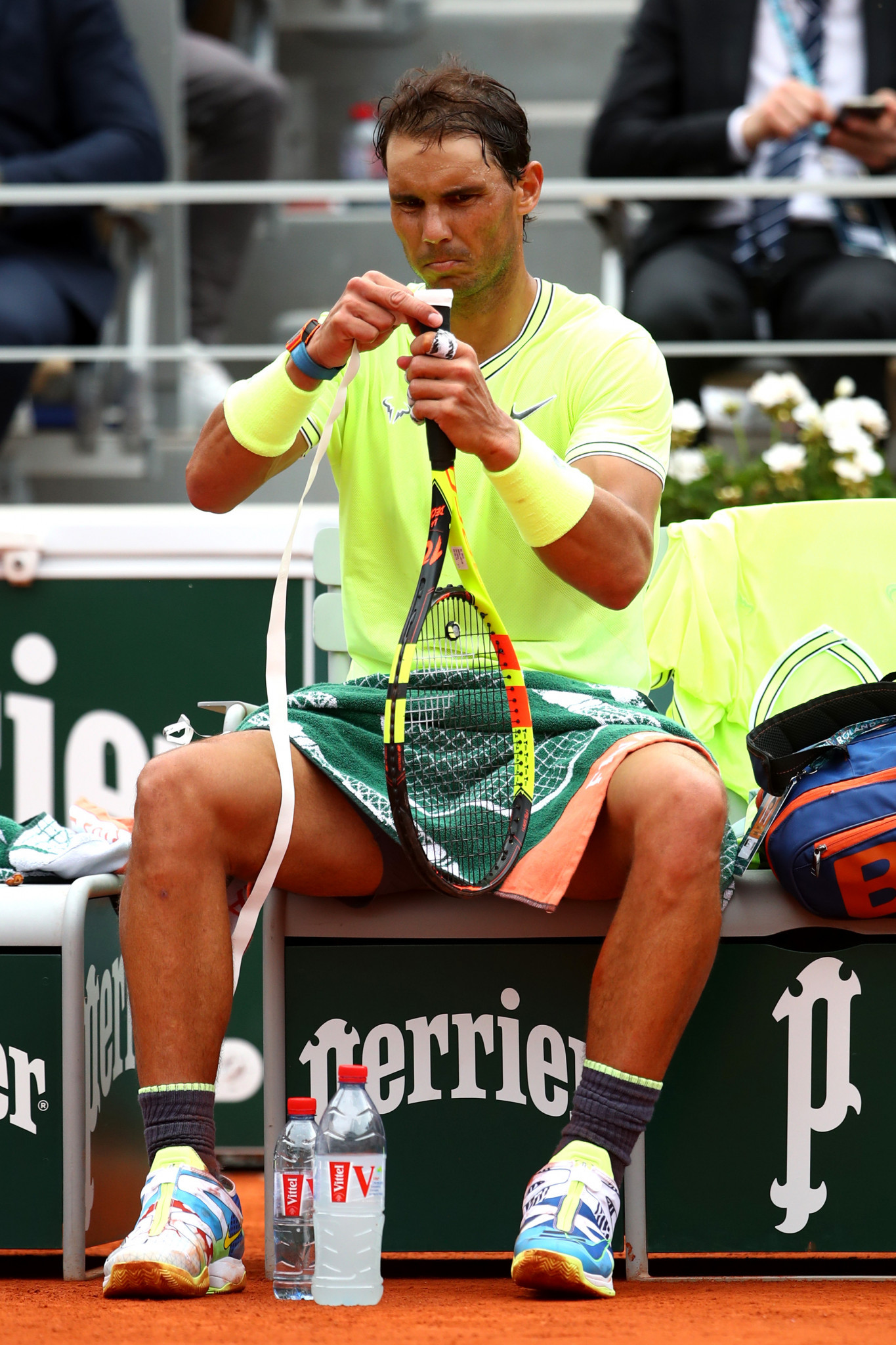 Second seed Nadal tapes his racquet during the final ©Getty Images