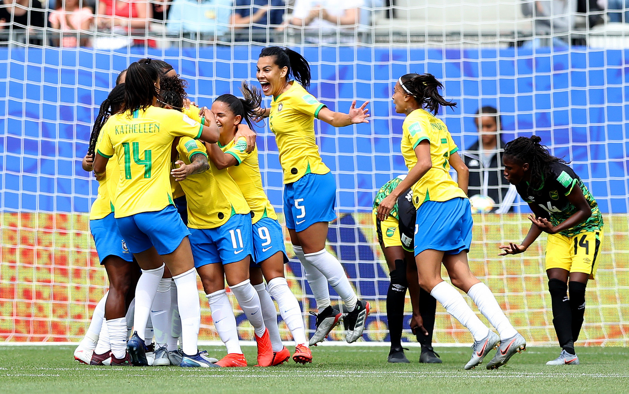 Cristiane is mobbed after scoring the first goal of her hat-trick in Brazil's 3-0 win over Jamaica ©Getty Images