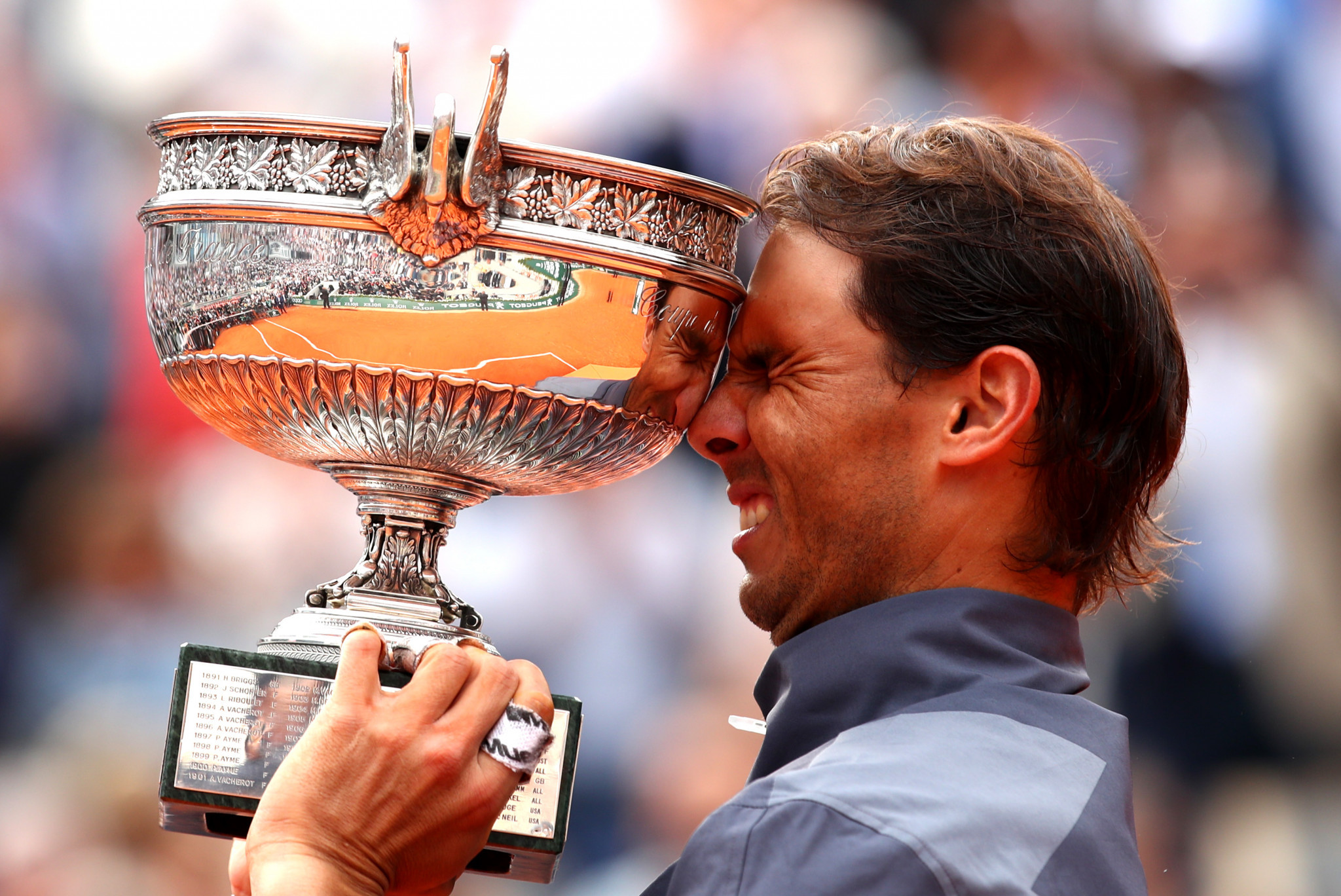 Rafael Nadal of Spain was full of emotion after claiming a 12th French Open title at Roland Garros ©Getty Images