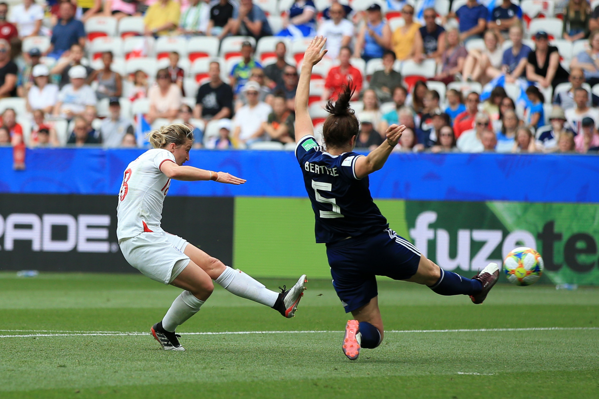 Ellen White, having previously been denied a goal by the offside flag, pounced on a loose ball to curl in a second for England ©Getty Images