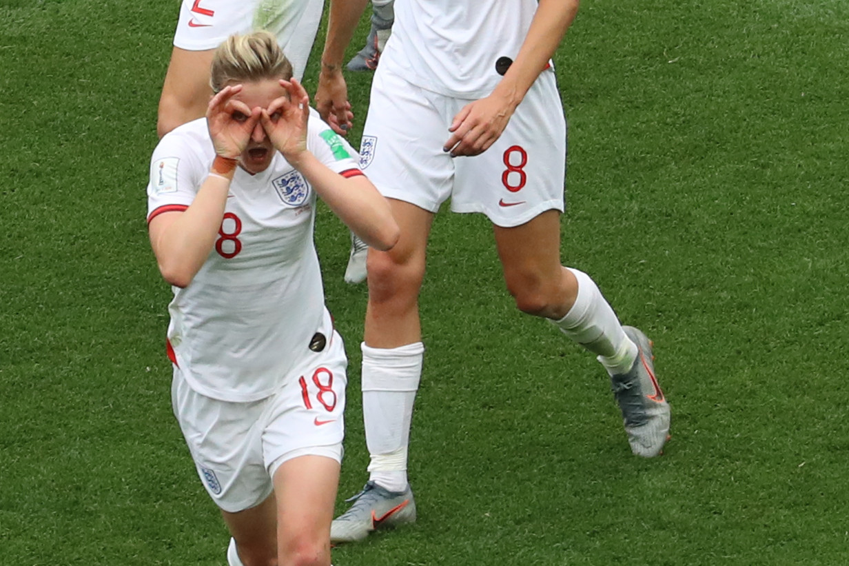 Ellen White celebrates scoring England's second goal against Scotland in Nice ©Getty Images