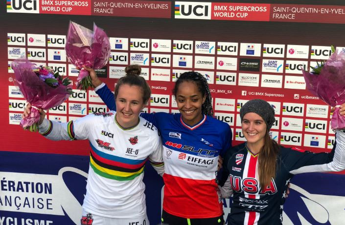 France's Manon Valentino upset to odds to win round six of the women's UCI BMX Supercross World Cup ©UCI