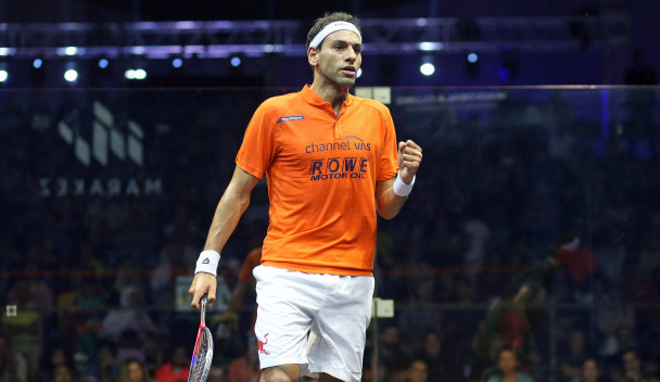 Defending champion Mohamed Elshorbagy of Egypt also began with a win as he overcame Peru's Diego Elias ©PSA
