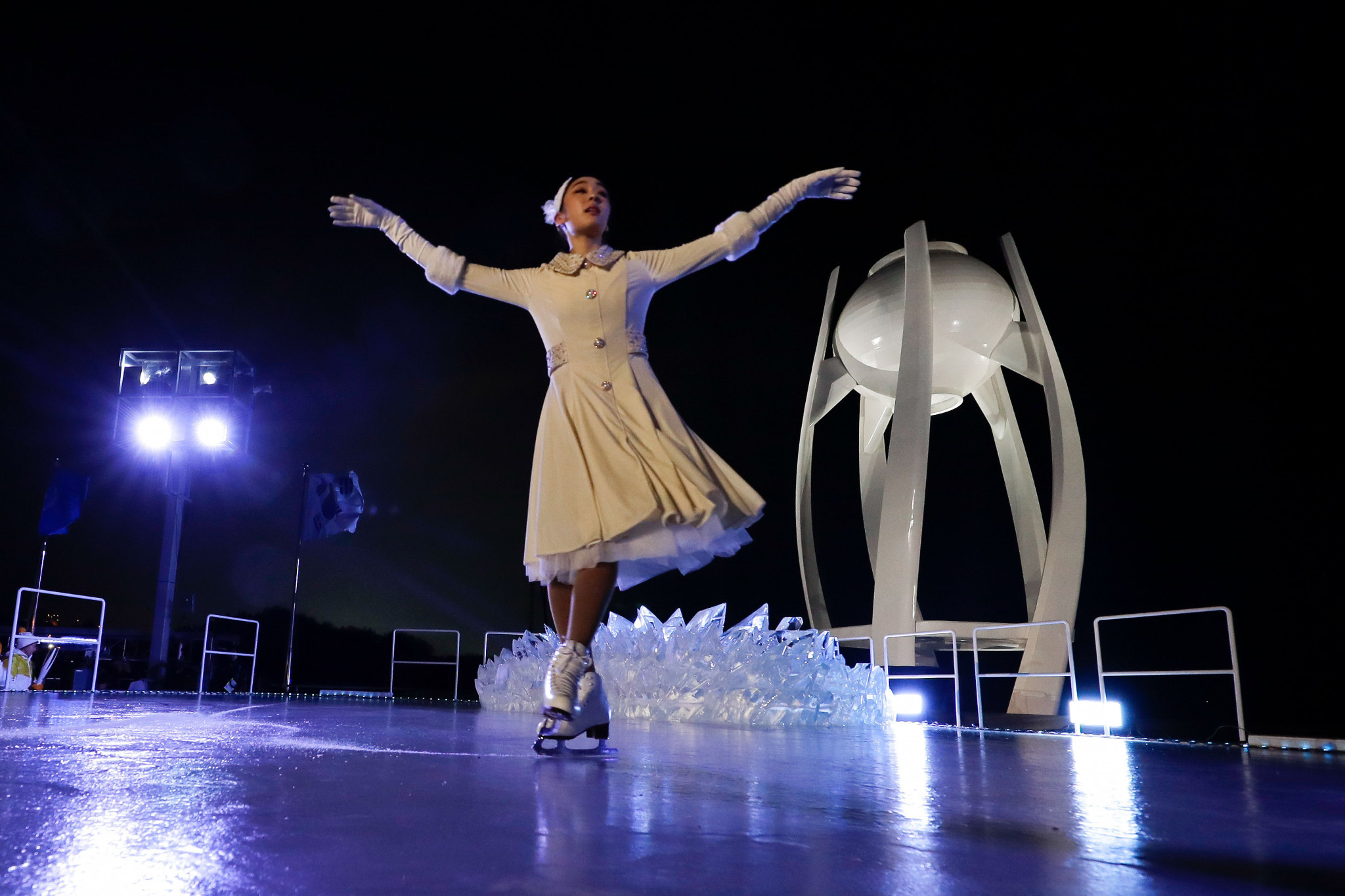 Olympic gold medallist Yuna Kim performs during the Opening Ceremony of Pyeongchang 2018 ©Getty Images