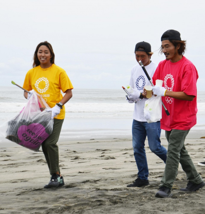 Volunteers reportedly collected around 45 kilograms of rubbish from the beach ©Tokyo 2020