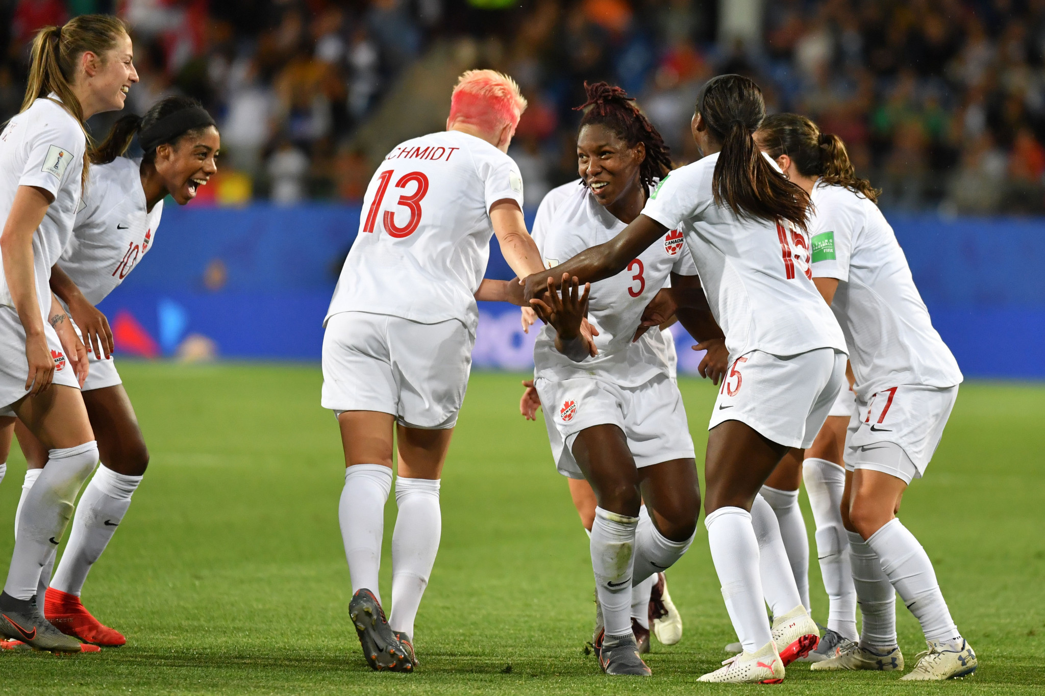 Kadeisha Buchanan is mobbed by team mates after putting Canada 1-0 up against Cameroon ©Getty Images