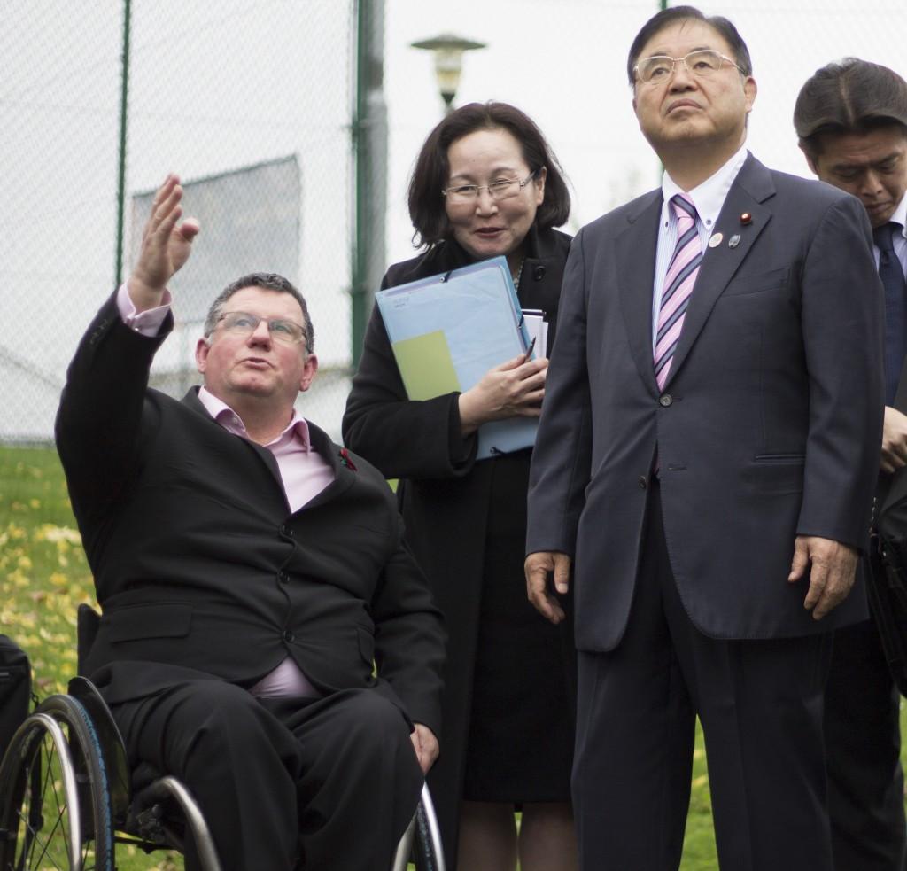 Tokyo 2020 Minister Toshiaki Endo (right) met with Martin McElhatton (left), chief executive of WheelPower, at the Stoke Mandeville Stadium ©WheelPower