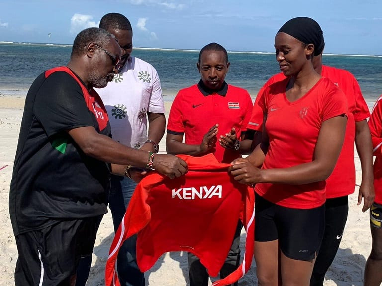 The National Olympic Committee of Kenya has unveiled the kit to be worn by athletes who will represent the country at the inaugural African Beach Games in Cape Verde ©NOCK