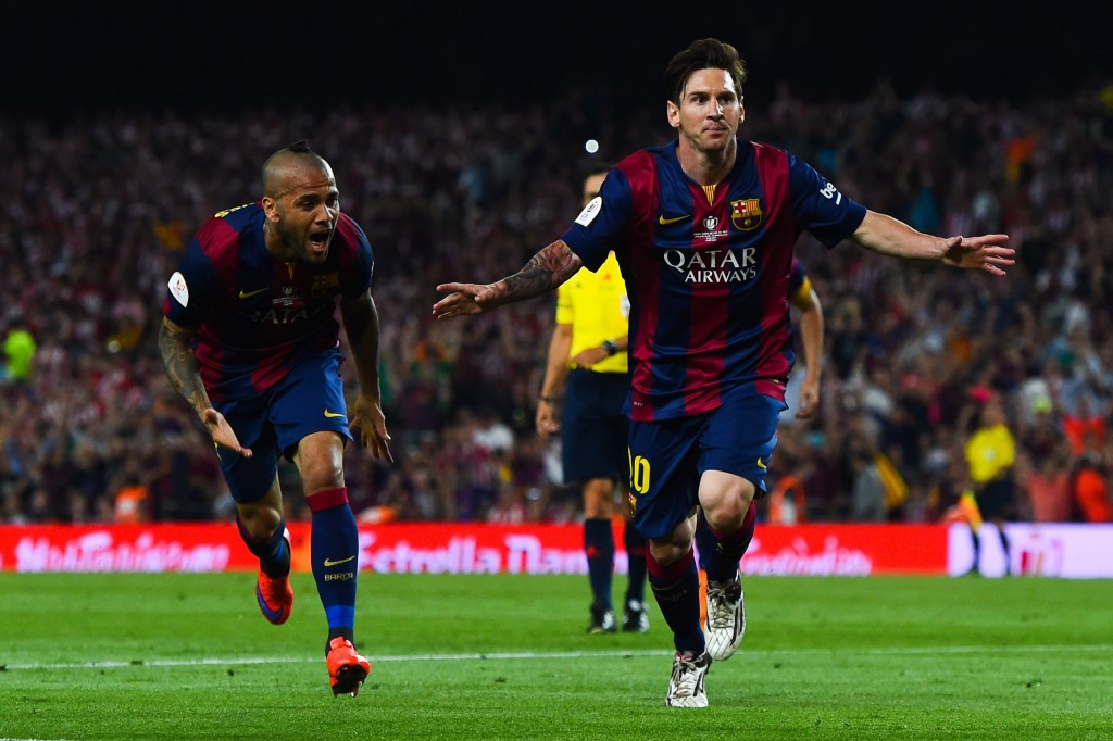Lionel Messi celebrates his stunning wonder goal in the 2015 Copa del Rey final which earned him a nomination for the Puskás Award