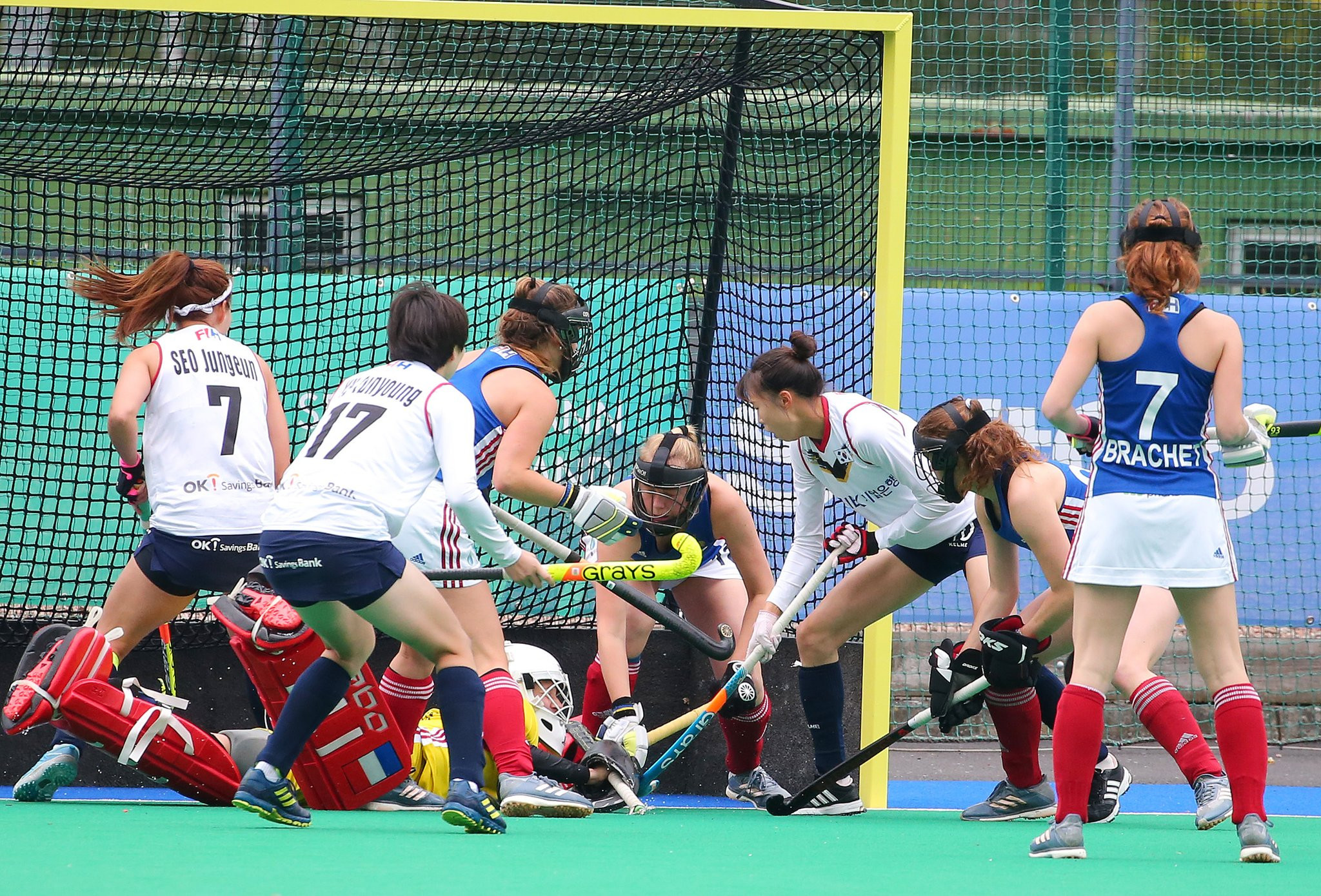 Ireland are joined in the semi-finals by South Korea, who completed a clean sweep of Pool B thanks to a late winner from Kang-Ji-na. against France ©Getty Images