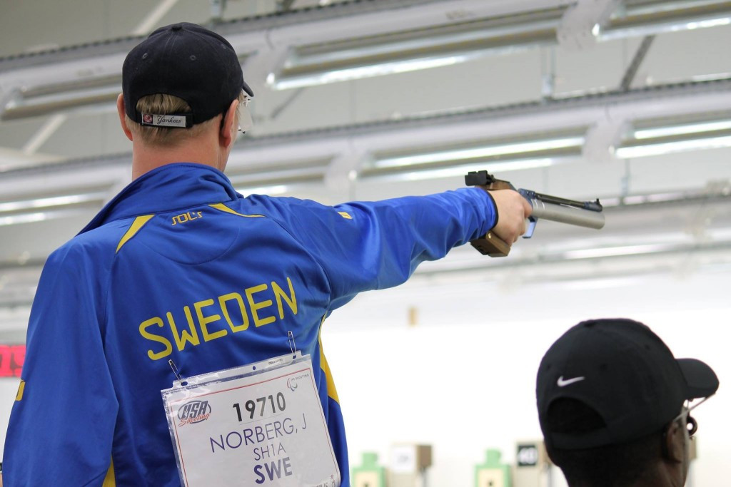 Joackim Norberg of Sweden lost out in a three-way shoot off for silver in the mixed 10m air pistol standard SH1 event