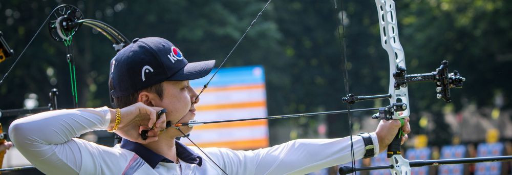 Kim pips Schloesser to top spot in men's compound qualification at World Archery Championships