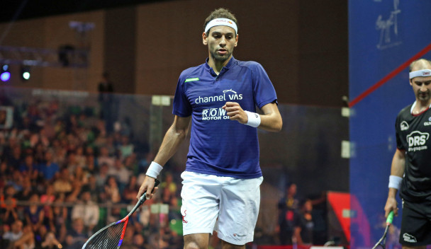 Egypt's Mohamed El Shorbagy beat Germany's Simon Rösner today to complete a hat-trick of wins in Group B of the men's event at the PSA World Tour Finals in Cairo ©PSA
