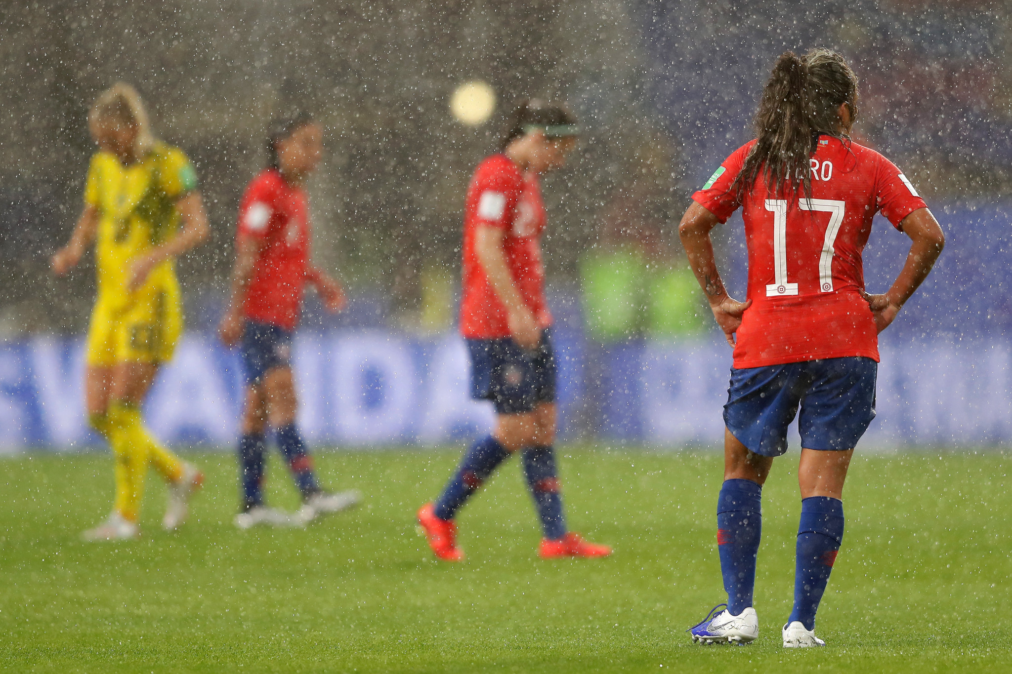 Stormy weather forced a break in Sweden's clash with Chile at the FIFA Women's World Cup ©Getty Images