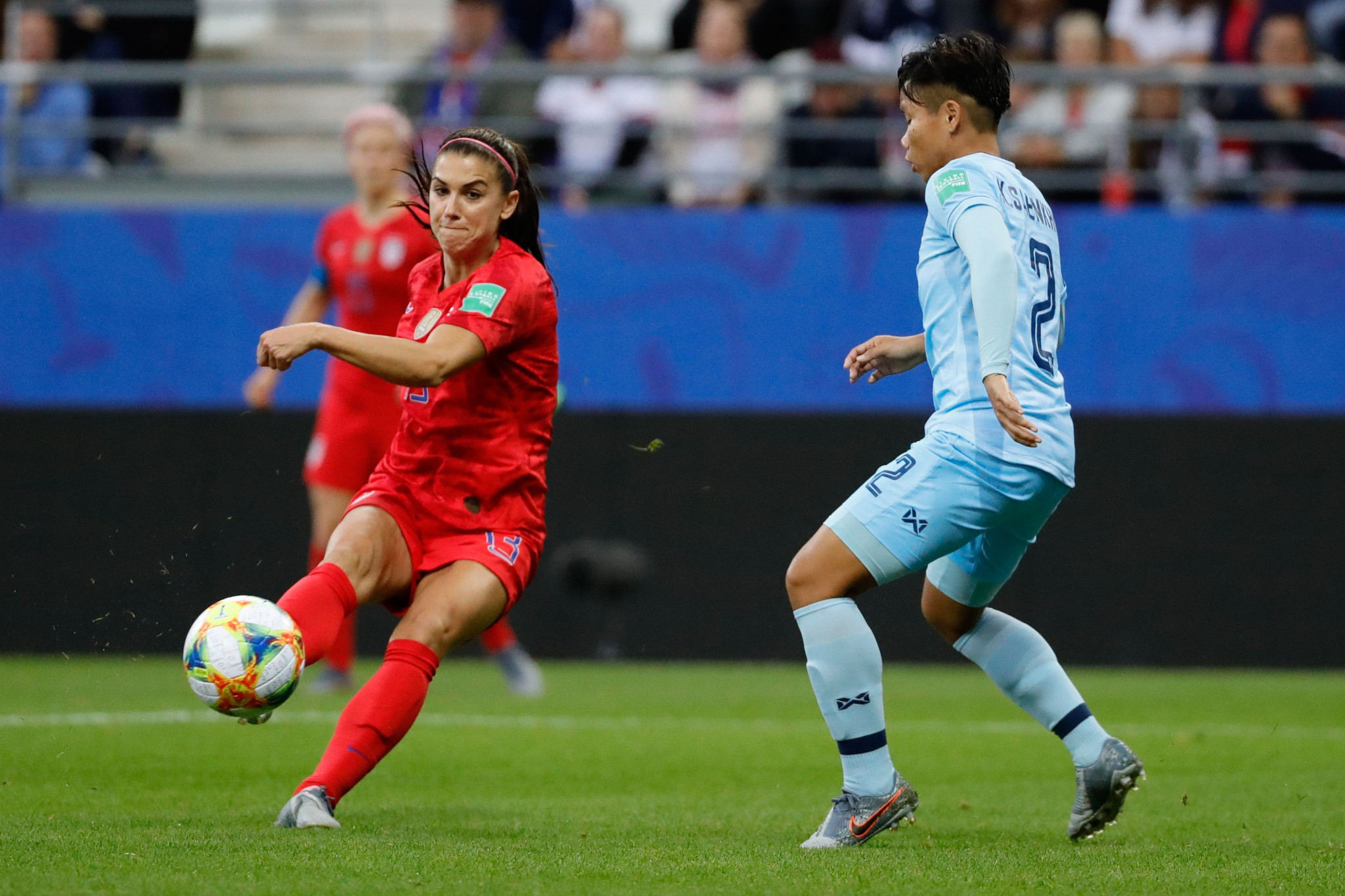 Alex Morgan scored five goals for the United States in their 13-0 demolition of Thailand ©Getty Images