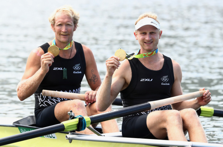 Hamish Bond, right, who has returned to rowing after being overlooked by Cycling New Zealand ©Getty Images