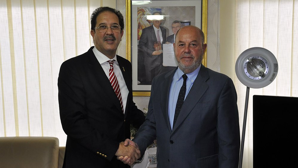 World Karate Federation President Espinós discusses sport with ANOCA head Berraf
