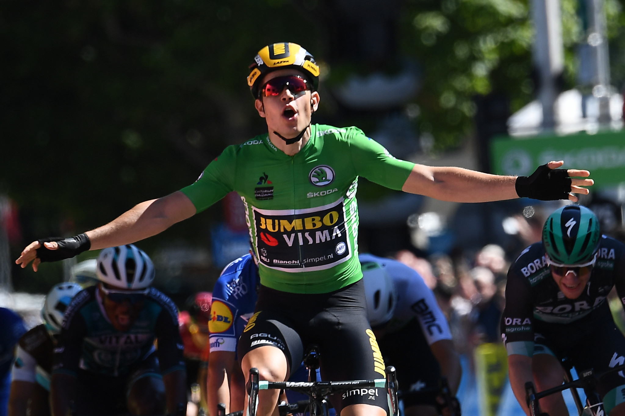 Belgium's Wout van Aert outdid hot favourite Sam Bennett of Ireland in a thrilling bunch sprint to make it two successive stage wins at the Critérium du Dauphiné ©Getty Images