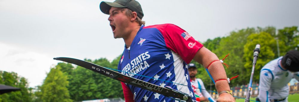 Brady Ellison is one of three individual finalists from the United States after reaching the men's recurve gold medal match ©World Archery