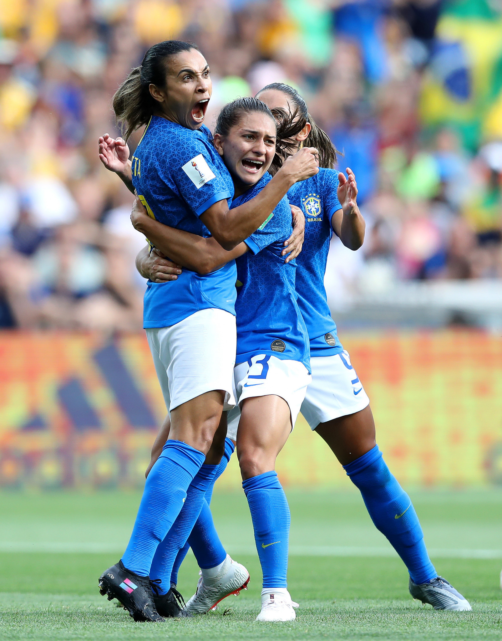 Marta, left, put Brazil ahead from the spot against Australia ©Getty Images