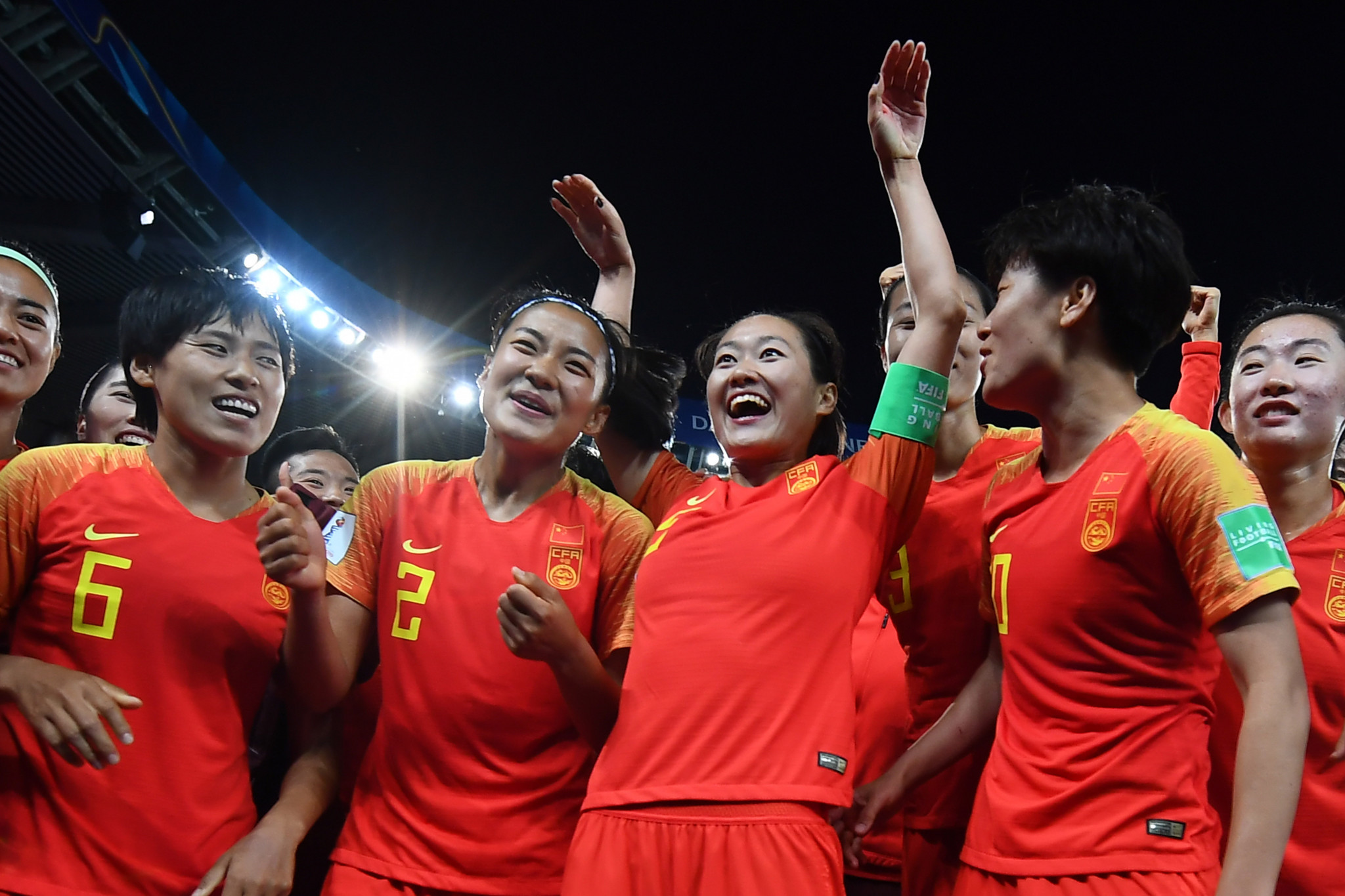 China revel in their victory over South Africa at Parc des Princes ©Getty Images