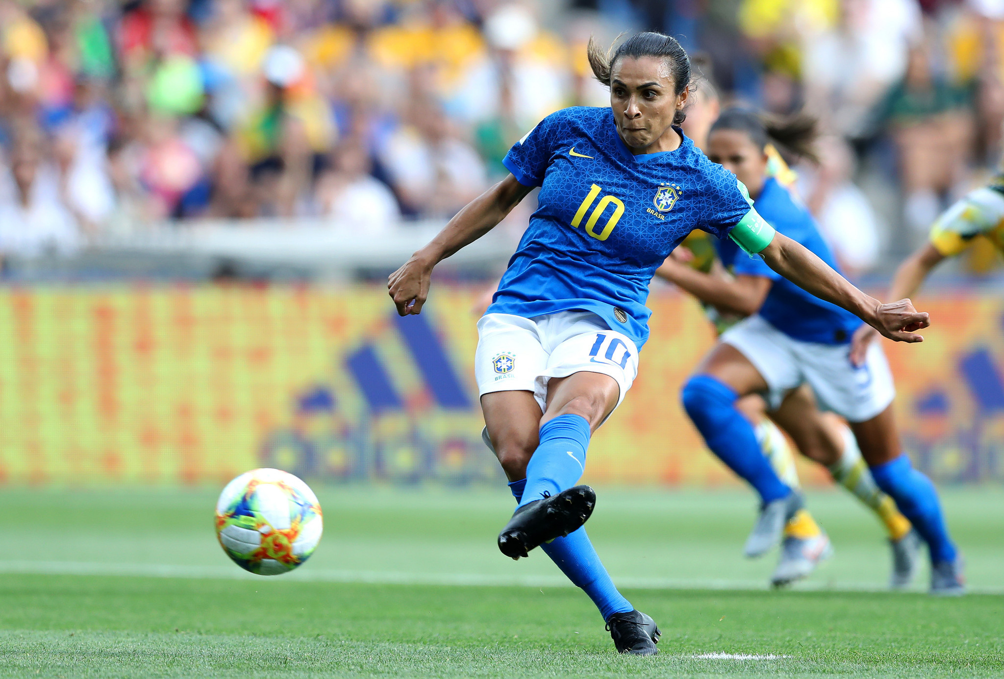 Marta converts the opening goal in Brazil's defeat to Australia ©Getty Images