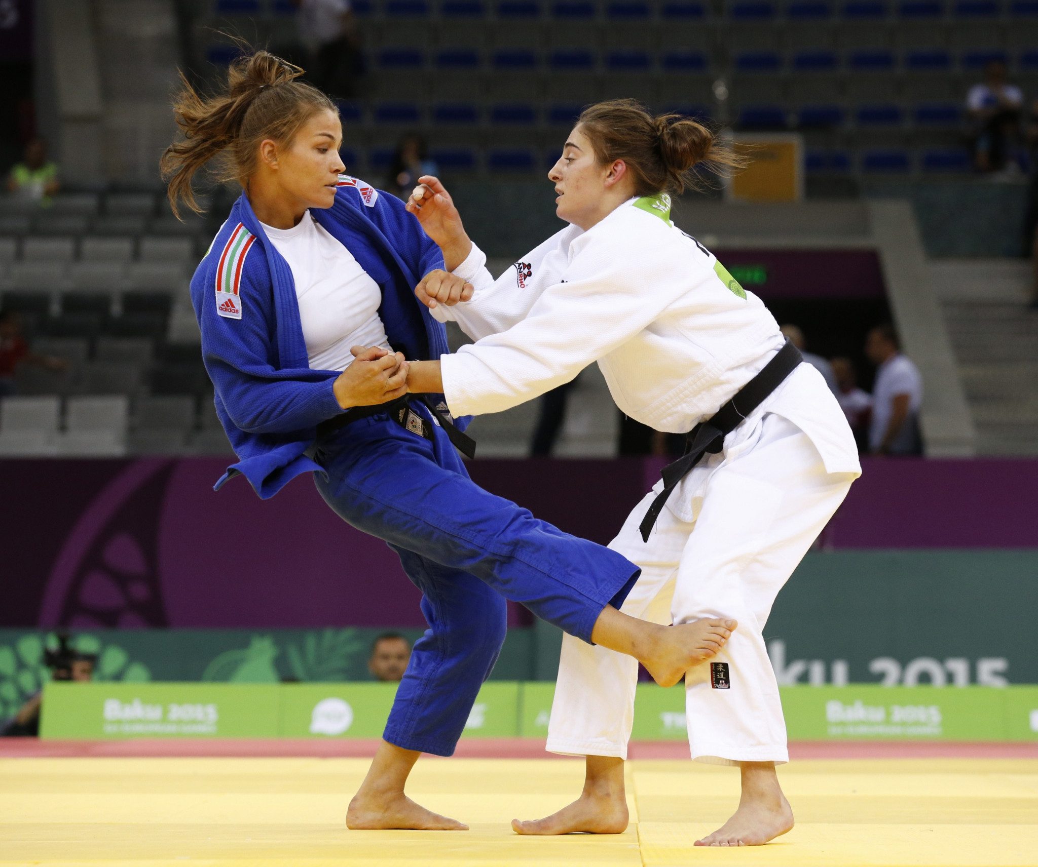 Kosovo's Nora Gjakova, in white, won a European Games silver medal in the under-57kg event at Baku 2015 ©Getty Images