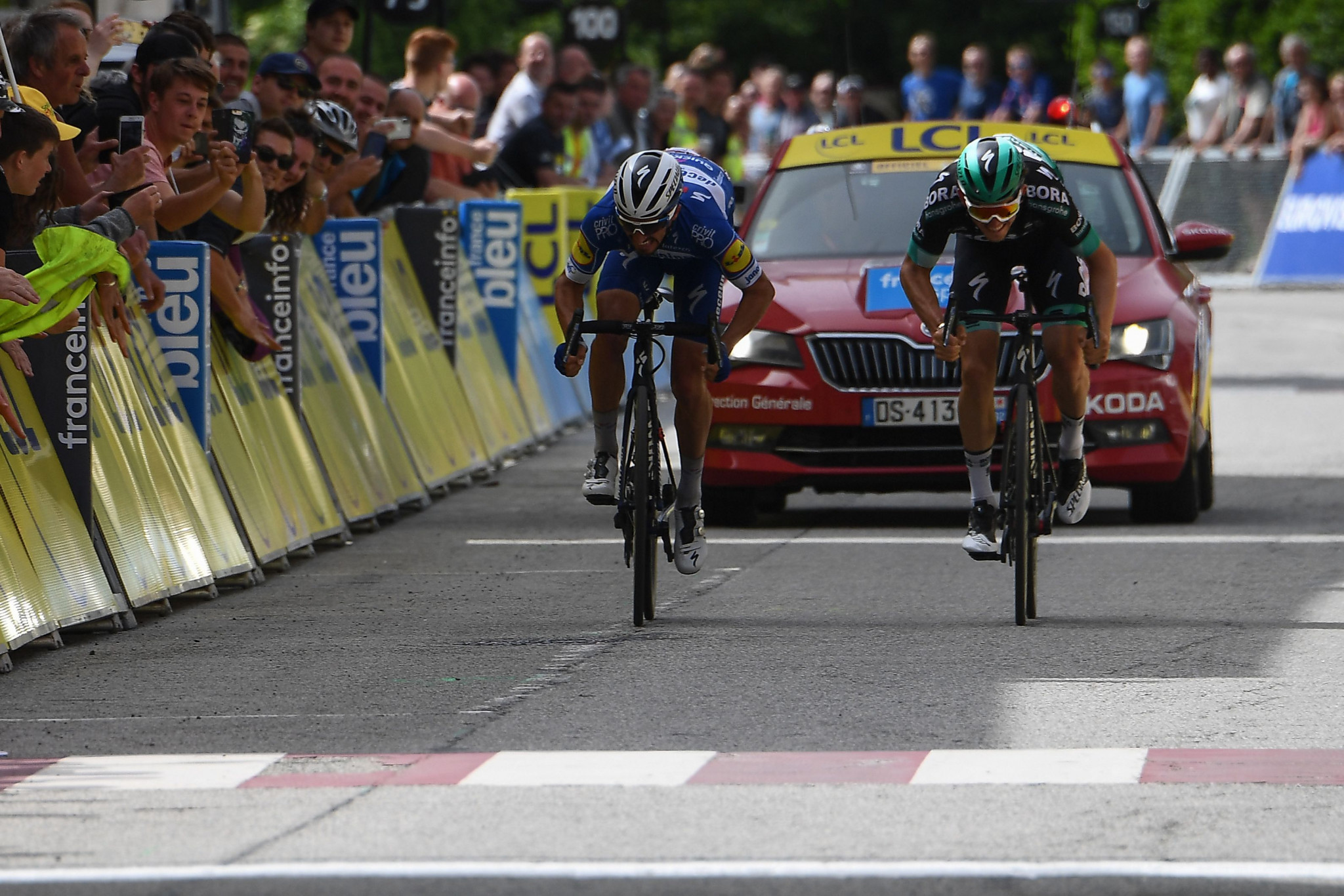 Alaphilippe wins stage six of Critérium du Dauphiné in photo finish as Yates retains overall lead