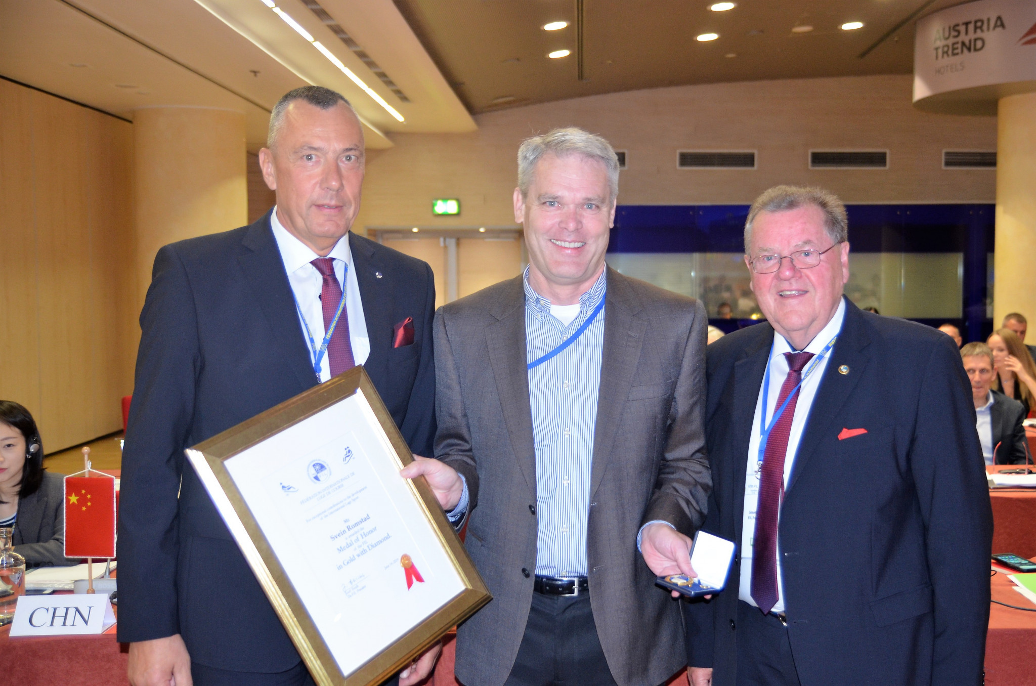 Former FIL secretary general Svein Romstad was awarded the medal of honour in gold with diamonds ©FIL