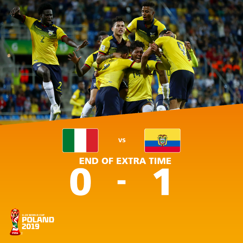 Ecuador edged out Italy 1-0 in extra time to secure third place ©FIFA