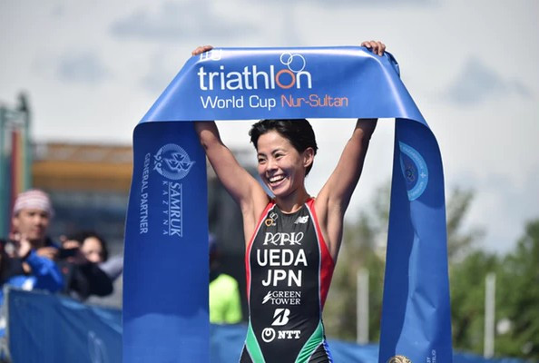Hauser and Ueda win in revised duathlon format at ITU World Cup in Nur-Sultan