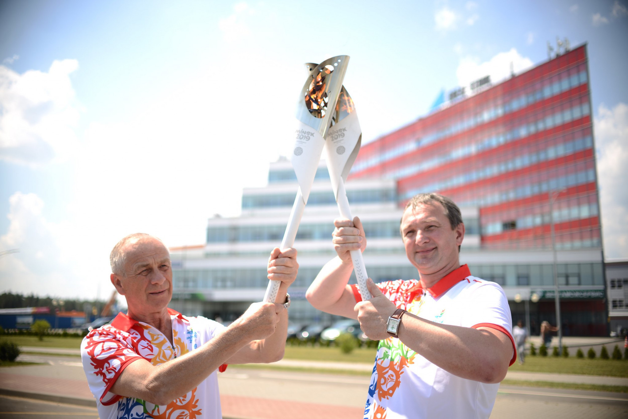 The European Games Torch, which was lit in Rome, has been carried by a variety of figures in sport and beyond ©Minsk 2019