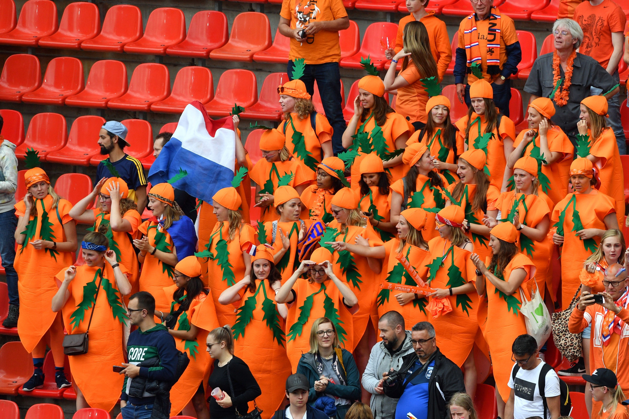 Netherlands supporters celebrate victory over Cameroon in Valenciennes