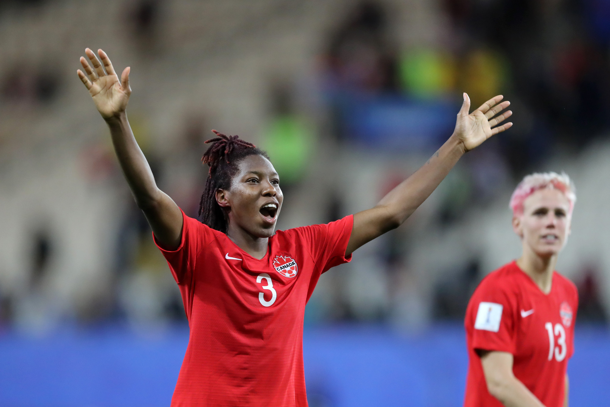 Canada's Kadeisha Buchanan enjoys the moment following victory over New Zealand ©Getty Images