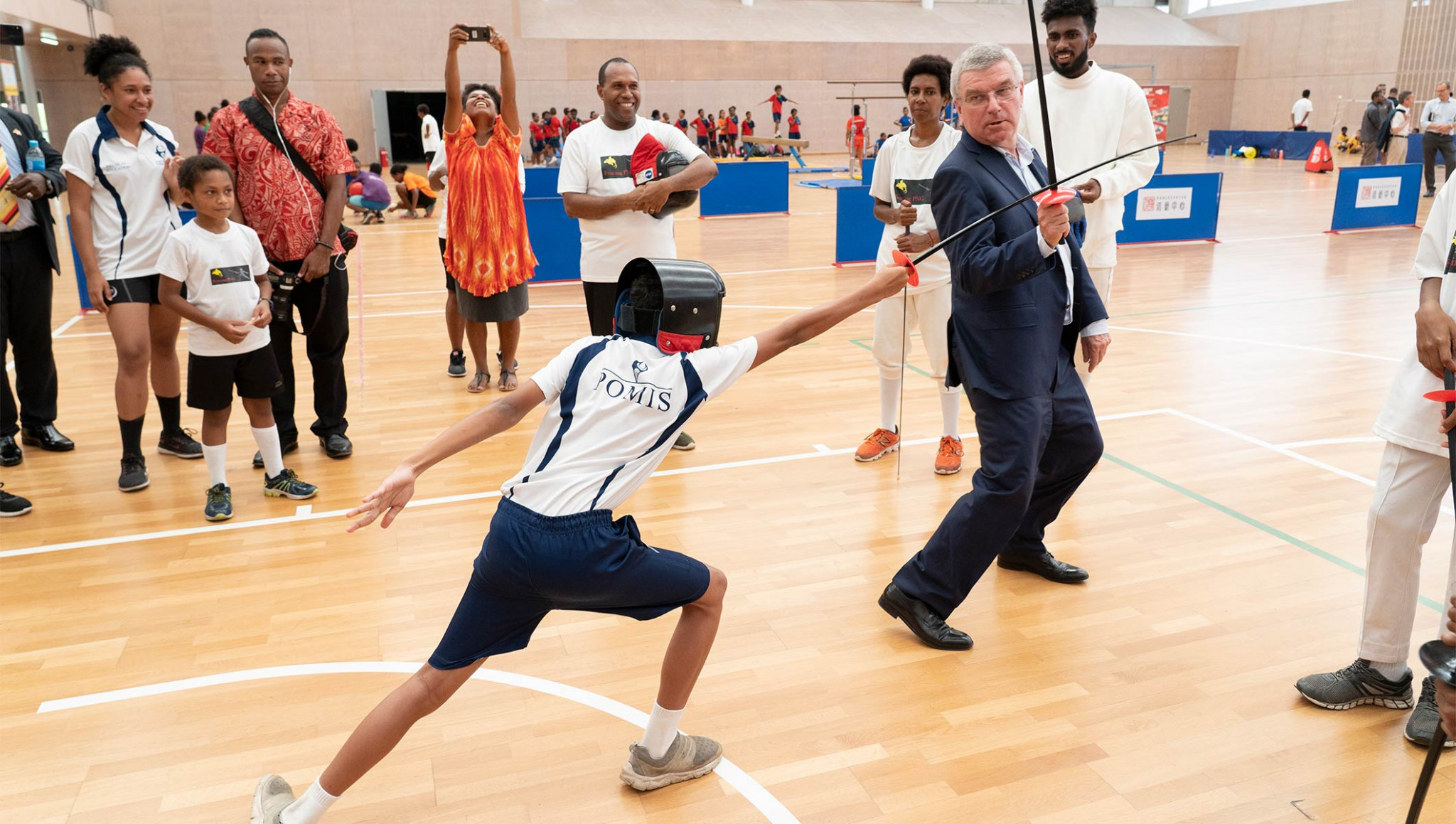 Thomas Bach showed off his fencing skills in Papua New Guinea last month ©IOC