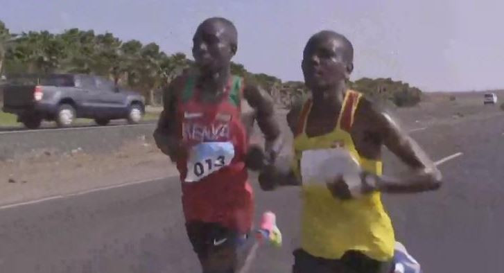 Uganda's Robert Chemonges, right, took gold in the men's half marathon at the African Beach Games in Sal ©Twitter