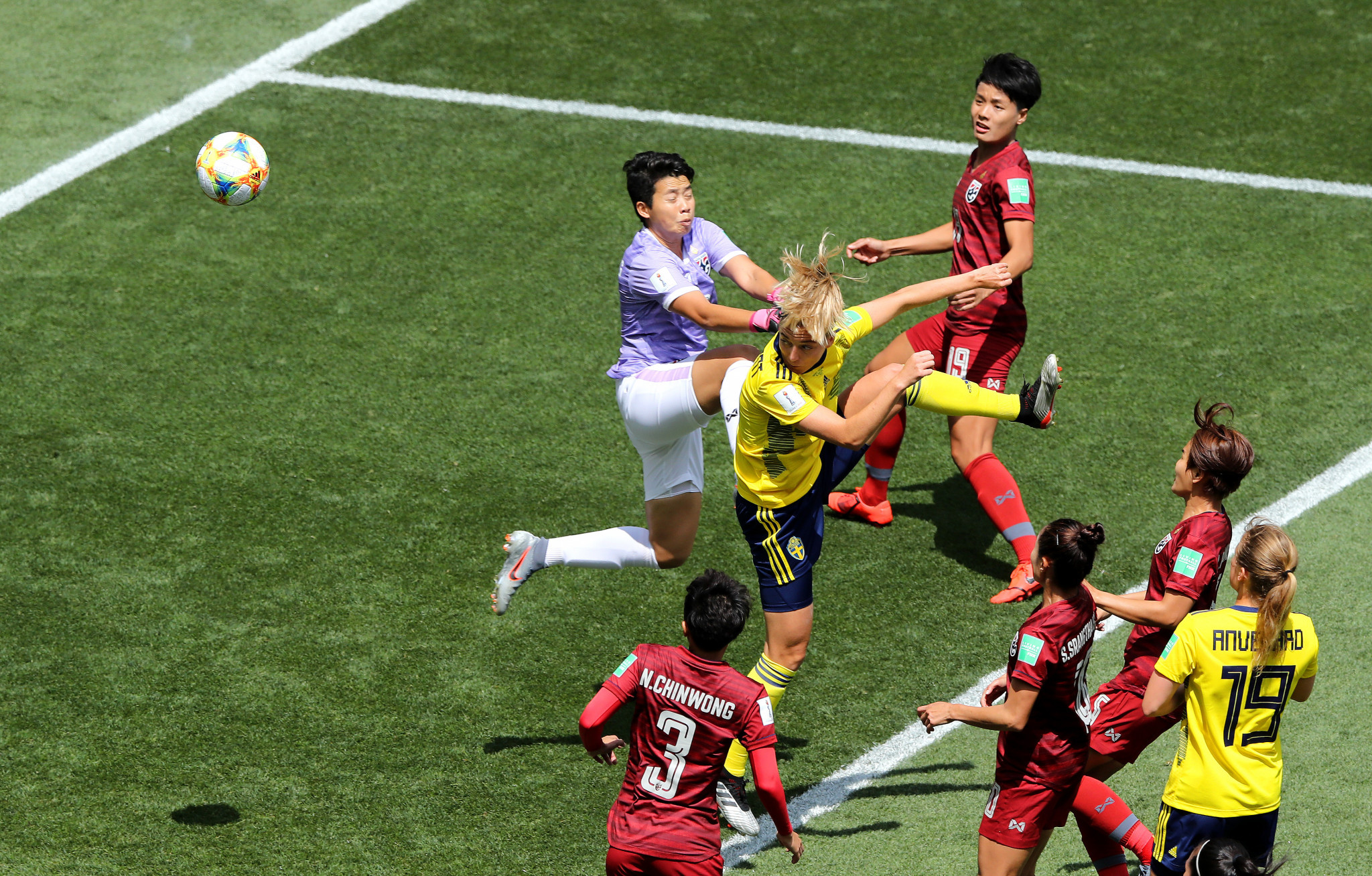Linda Sembrant nodded Sweden in front early on against Thailand ©Getty Images