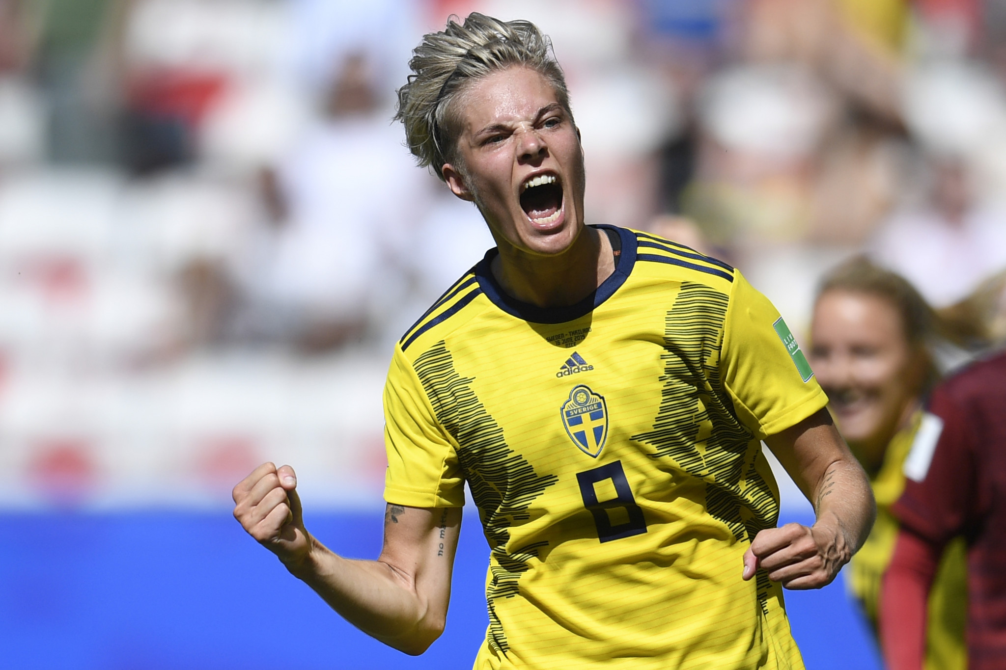 Midfielder Lina Hurtig is elated after grabbing Sweden's fourth ©Getty Images