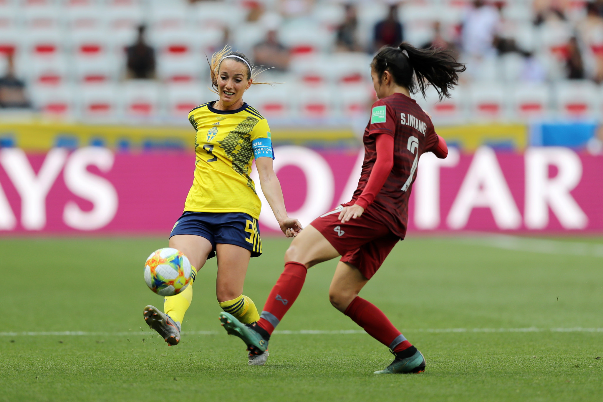 Kosovare Asllani doubled the lead at Allianz Riviera in Nice ©Getty Images